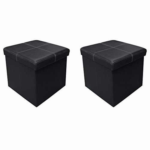 Otto & Ben [2 Piece Set] 15 inch Line Design Memory foam Seat Folding Storage Ottoman Bench with Faux Leather, Black - 2 Piece Ottoman