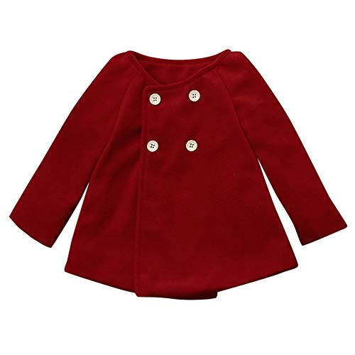 ear Coat Clothes,Winter Long Cloak with Front Button Warm Jacket (12-18 Months, Wine) ()