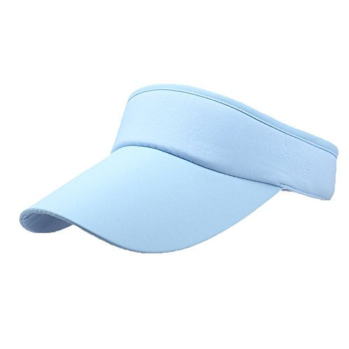 Unisex Sun Sports Visor Large Brim Summer UV Protection Beach Cap Top Level 100% Cotton Cap Outdoors Quick Dry Hat (Sky Blue) by Cealu (Image #3)