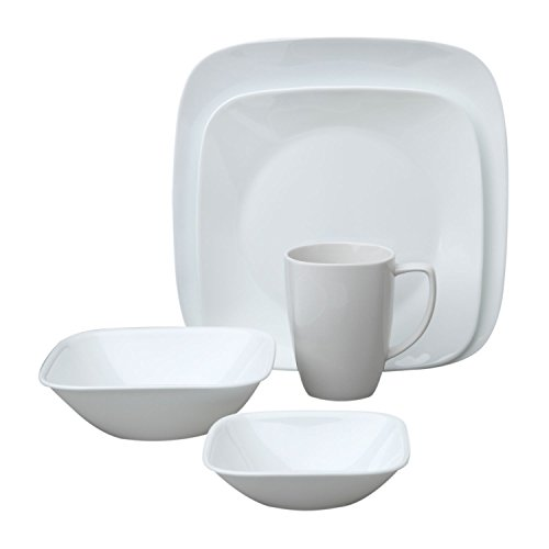 Corelle Square Pure White 20-Piece Dinnerware Set, Service for 4 (White Square Dinnerware Sets)