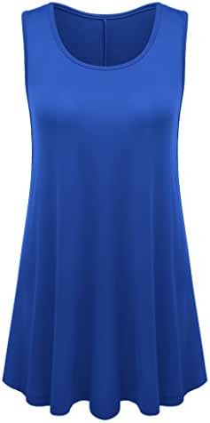 Womens Sleeveless Flared Hem Tunic Top