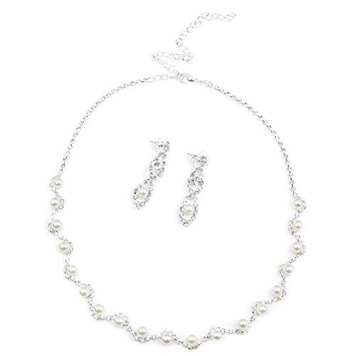 (BESTOYARD Cystal Rhinestone Faux Pearl Necklace Earrings Women Wedding Bridal Jewelry)