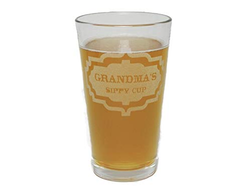 - Grandma's Sippy Cup - Engraved Beer Pint Glass - 16 Oz - Permanently Etched - Fun & Unique Gift!