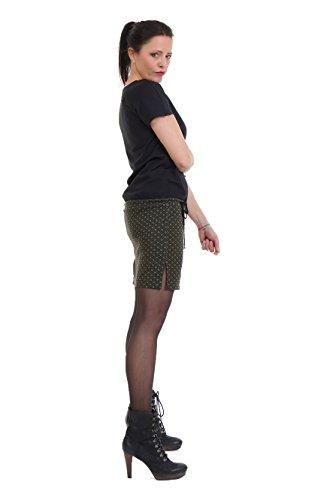 Vestido Corta 3elfen Para Básico Mujer Skater Retro Grün Manga qOqCxaw