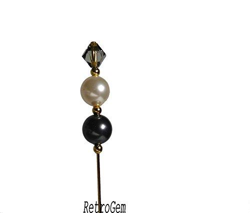 RetroGem White Black Crystal Pearl Gold Tone Hat Pin Made with Swarovski Elements Crystal Pearl #N256