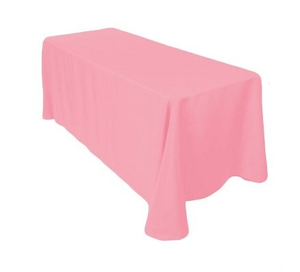 Gee Di Moda Rectangle Tablecloth - 90 x 132 Inch - Pink Rectangular Table Cloth for 6 Foot Table in Washable Polyester - Great for Buffet Table, Parties, Holiday Dinner, Wedding & More