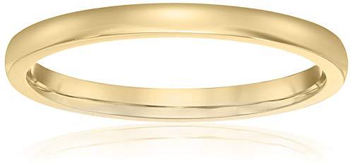 (Decadence Unisex 14K Yellow Gold 2mm Polished Comfort Feel Plain Wedding Band, 8)