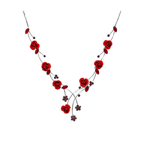 Glamorousky Elegant Rose Necklace with Red Austrian Element Crystals and Crystal Glass (500)