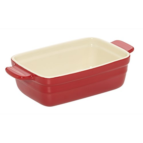 Baker's Advantage Ceramic Loaf Pan, 9-by-5-Inch, Red (Ceramic Bread Pans For Baking)