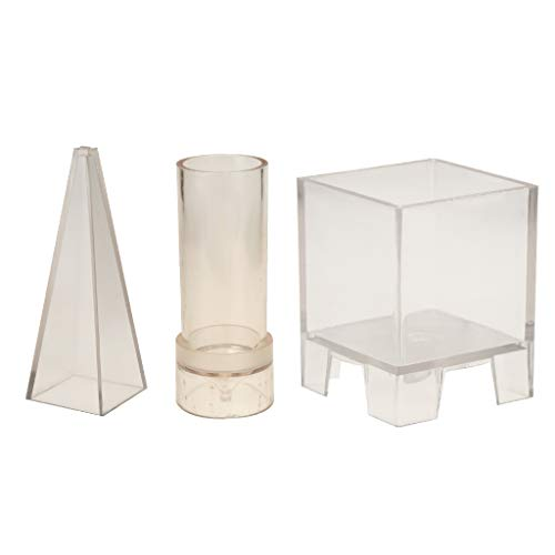 Fityle 3 Shapes Plastic Pyramid Church Top Square Candle Molds Mould Soap Mold DIY Scented Candle Home Wedding Decoration Candles Model ()