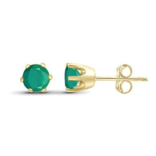 (0.55ctw Genuine Emerald Gemstone 14k Gold Over Silver Stud Earrings)