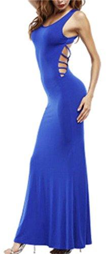 Vestibilità Indietro Donne Vestito Aperto Blu Sottile Domple Senza Maniche Aderente Scollo Maxi 00aEwq