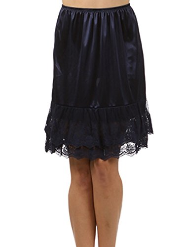 Blue Slip (Melody Womens Lace Extender Slip Skirt Half Slip (Medium, Navy Blue))