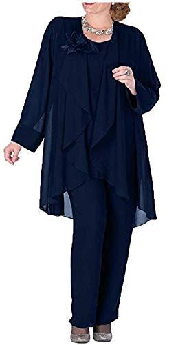 Women's Plus Size Chiffon Pants Suit 3 Pieces Dress Suit for Mother of The Bride Evening Gowns Outfit Navy US26W