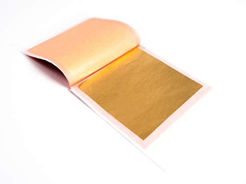 24 Karat Edible Gold Leaf by Slofoodgroup (10 Soft Press Transfer Sheets of Gold Leaf per Book) 3.15 in x 3.15in Lightly Attached Transfer Leaf Sheets ()