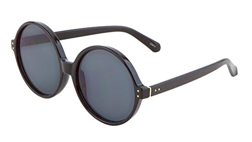 Large Round Sunglasses Retro Temple Frame Color Mirror Lens (57mm/Black/Smoke, - Oakly Batwolf