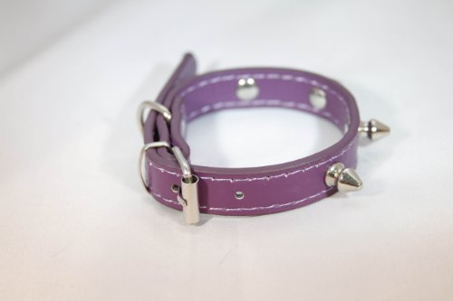 Bella's Luxury Leather Metal Spike Dog Collar (for Small Dog Breeds) – Small, Purple, 13″ x .5″, My Pet Supplies