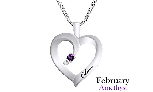 Jewel Zone US Personalized Engravable Heart Shape Simulated Amethyst Pendant Necklace 14 White Gold Over Sterling Silver - Custom Made Any Name