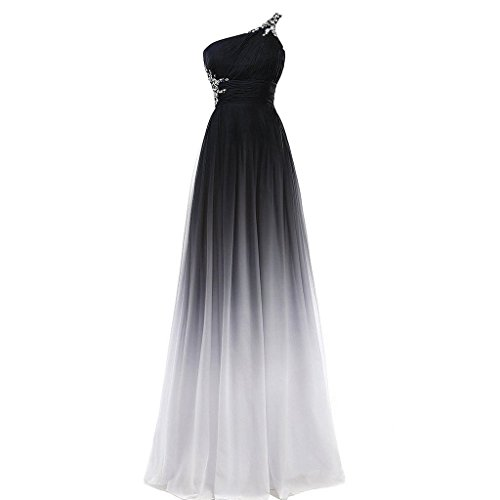Beaded One Shoulder Black and White Long A Line Gradient Chiffon Formal Prom Evening Dresses US - Black White Prom Dresses