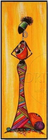 SoulSpaze Unique Wall Art Pictures Artist Hand Painted Long Size Vertical Rectangle Oil Painting Abstract African Woman Oil Painting 3 (40x120cm x1)