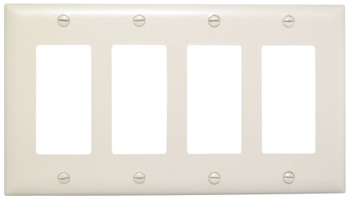 Legrand - Pass & Seymour TP264LACC10 Trade Master Nylon Wall Plate with Four Decorator Openings, Four Gang, Light Almond