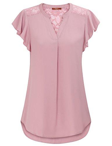 Gaharu Women's Notch V Neck Short Sleeve Chiffon Shirts Casual Lace Blouse Top