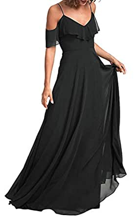 Jonlyc A-Line Spaghetti Straps Cold Shoulder Chiffon Long Bridesmaid Dresses Formal Party Gowns Black 18W