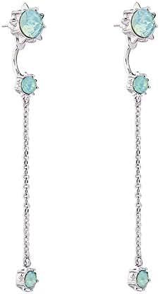 Teniu Retro Crystal Diamond Stud Earrings Fashion Tassel Cubic Zirconia Dangle Earrings