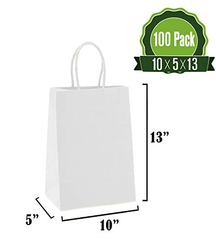 White Kraft Paper Gift Bags Bulk with Handles10 X 5 X 13 [100Pc]. Ideal for Shopping, Packaging, Retail, Party, Craft, Gifts, Wedding, Recycled, Business, Goody and Merchandise - Sack White