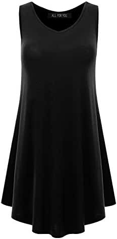 ALL FOR YOU Women's Sleeveless Round Hem Tunic Top Made in USA