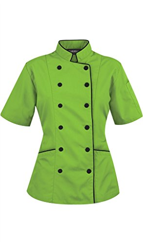 34 Coat Apron (Chef Attires Short Sleeves Women's Ladies Chef's Coat Jackets by S (to Fit Bust 34-35), Green)