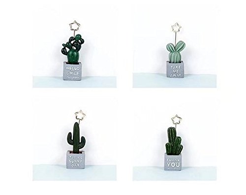 URTop 4Pcs Mini Cactus Card Holder Photo Clip Name Note Memo Stand Office Supply Home Decoration Desk Small Clamps Stand for Office Supplies Accessories