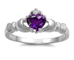 Irish Claddagh Simulated Amethyst Heart Ring Size 3 (Ring Amethyst Celtic Claddagh Heart)