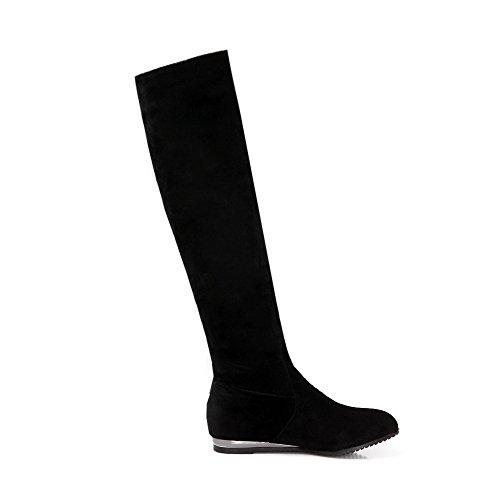 AgooLar Damen Ziehen auf Mattglasbirne Rein Hoch-Spitze Stiefel mit Wasser Diamanten, Schwarz, 39