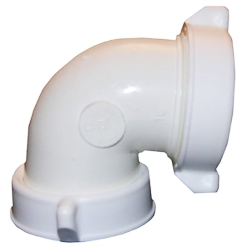 (LASCO 03-4261 White Plastic Tubular 1-1/2-Inch Slip Joint 90-Degree Elbow with Nuts and)