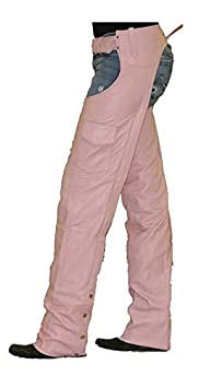 Womens Insulated Pink Leather Motorcycle Chaps 2XL