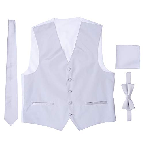 Men's 4 Piece Formal Tuxedo Vest with Matching Solid Color Bowtie, Necktie, and Pocket Square (Tuxedo Five Piece Set)