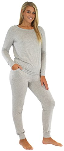 Sleepyheads Women's Sleepwear Knit Jogger Pant PJ Set Light Grey (SH1760-4001-LRG)
