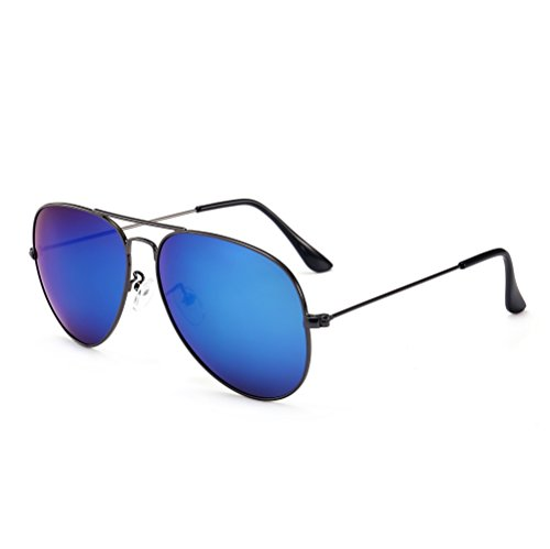 SUNGAIT Ultra Lightweight Polarized Aviator Sunglasses for Men Women UV400 (Gunmetal Frame/Blue Mirror Lens, - Sunglasses Is The Of Benefit What Polarized