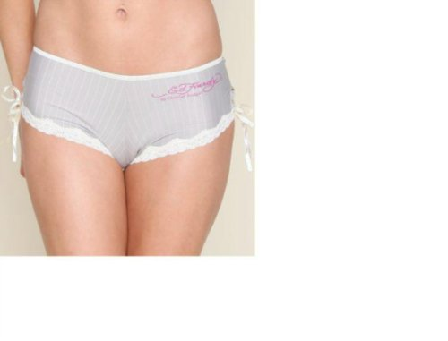 Ed Hardy Tanga Pinstripe with Bowtie Details (Grey, Large) (Ed Panty Hardy Womens)