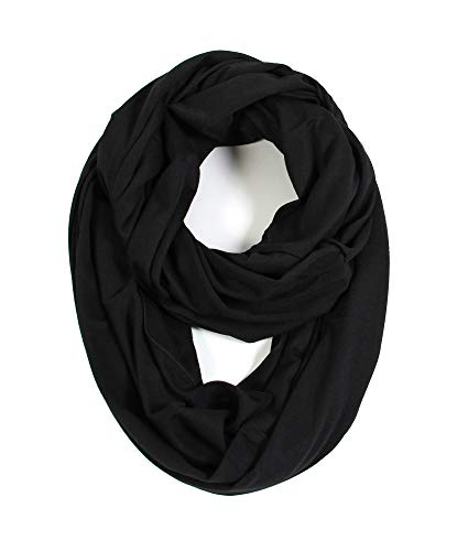 (Scarfand's Super Soft Light Weight Solid Color Infinity Loop Scarf (Double Size - Black) )