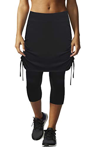 HonourSex Womens Capri Skirt Tennis Casual Skirted Leggings Skort, Sport Running Athletic Swim Workout with Capri/Shorts -