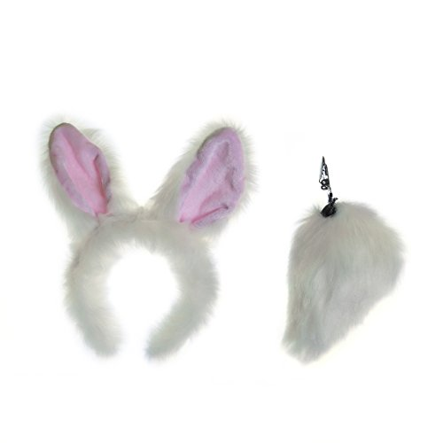 Life-like White Rabbit Ears Headband and Tail Set for Zoo Animal Party and Bunny Costume Cosplay (Couple Themed Halloween Costumes)