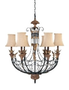 Nuvo 60/2102 6 Light Chandelier with Maple Wood Shades