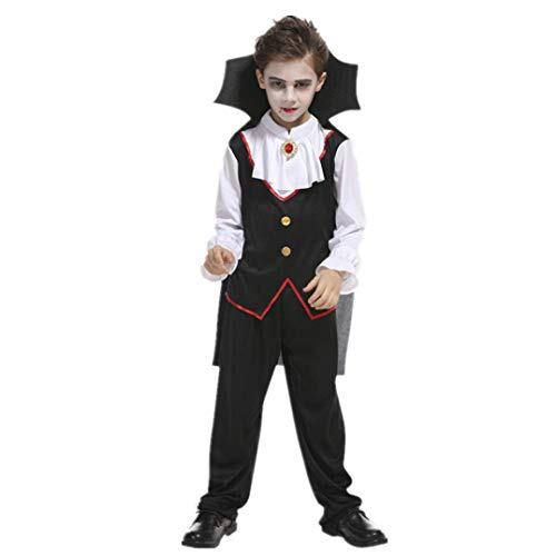 Sikye Vampire Costume, Halloween Kids Boy's Costume Cosplay Tops + Pants + Cloak 3Pcs Outfit Sets (Black 3, 10T) for $<!--$14.89-->