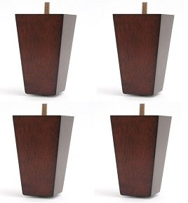 4'' Furniture Wood Tapered Leg Walnut Finish - Set of 4 Legs