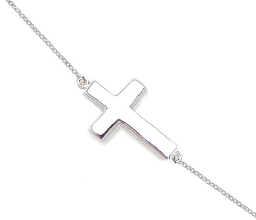 Silver Sideways Cross Pendant Necklace .925 Sterling Silver Women's 16″ – 18″ Anti-Tarnish Rhodium Plated