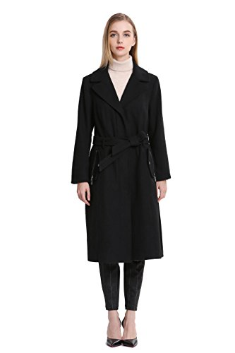 Vero Viva Women's Winter Wool Coat Fur Collar Fashion Jacket Coat Over Coat Black XS