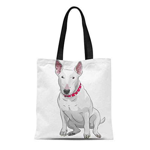 - Semtomn Cotton Canvas Tote Bag Brown Color Sketch of White Bull Terrier Dog Sitting Reusable Shoulder Grocery Shopping Bags Handbag Printed
