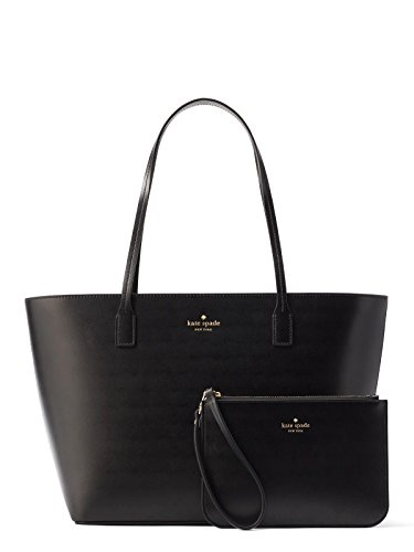 Kate Spade Bennet Place Small Harmony Smooth Leather Tote Shoulder Bag Purse Handbag with Matching Wristlet Pouch (Black)